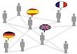Netzwerk, Sprechblasen, Flaggen