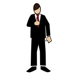 Business symbol white-man thumb-up to chest