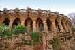 Arcade of stone columns in Park Guell, Barcelona