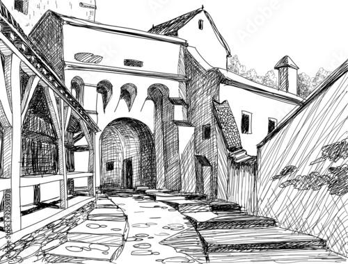 Medieval citadel sketch - 32593178
