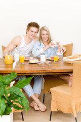 Breakfast happy couple enjoy romantic morning
