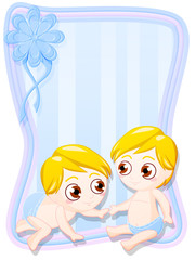 graphic greeting card for newborn male twins in blue