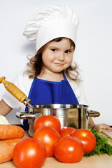 Little Smiling Girl Ready to Cook