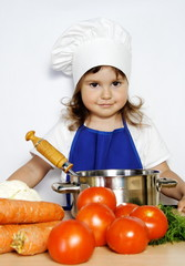 Young Smiling Girl Ready to Cook