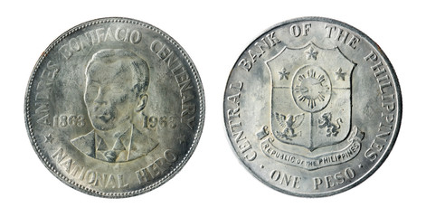 Philippine old coins on the white