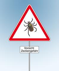 Warnschild Zeckengefahr