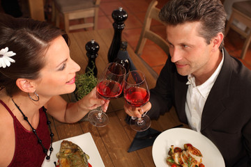 romantic dinner for two - couple in a restaurant
