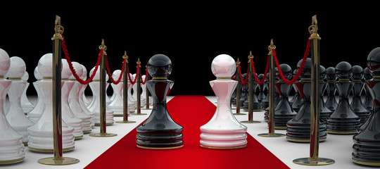 chess on red carpet isolated. 3d render