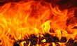 Flames in a wooden stove