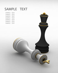 Chess concept image - checkmate 3D render