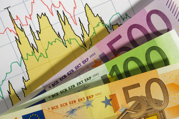 euro currency and financial chart