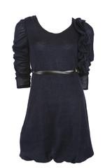 Blue wool dress with belt