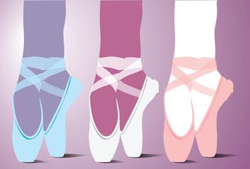 Detail of ballet dancer´s feet. Vector illustration