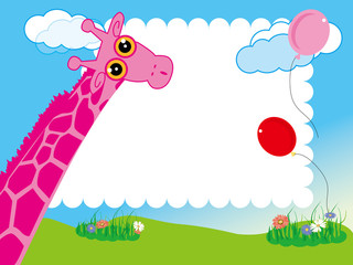 kid's photo framework.Giraffe and balloon in the garden