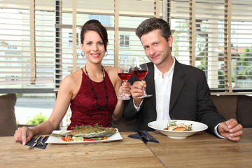 romantic lunch for two - couple in a restaurant