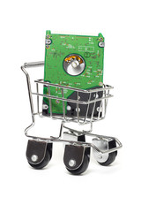 Computer hard disk in mini shopping cart