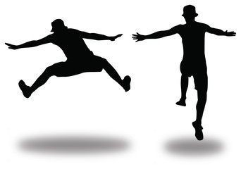 Two silhouette of jumping young man - horizontal vector