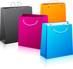 Set of color shopping bags.