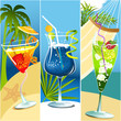 Summer banners with tropical drinks
