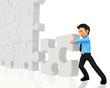 3D business man - puzzle assembling