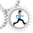 3D man running in cogwheels