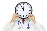 Doctors stress in front of the head with Clock
