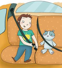 bimbo in auto allaccia la cintura