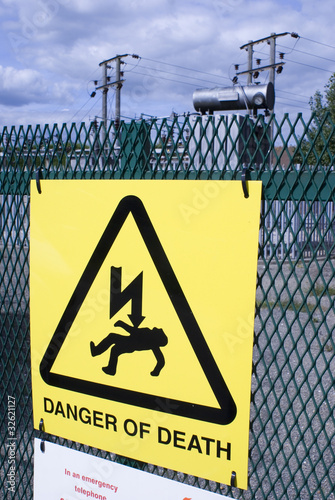 Danger of Death sign at electricity substation