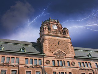Storm approaching Post Office Building in Stockholm