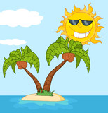 Island With Two Palm Tree And Cartoon Sun