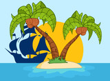 Cartoon Island With Two Palm Tree And Pirate Ship