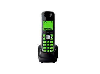 Wireless green telephone with cradle isolated
