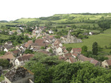 Hills and medieval village of Rochepot in France