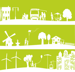 bannière verte urbaine et écologique