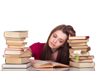 Young girl studying with book isolated