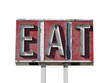 Eat Sign Ruin Isolated
