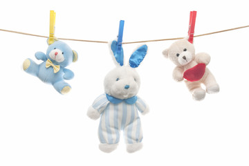 clothesline with stuffed animals