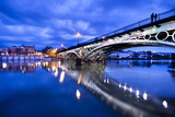 Sevillie, romantic panorama of the bridge and the riverside - Fine Art prints