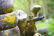 paintball player under gunfire