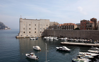 Dubrovnik harbor and old town