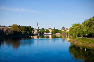 Karlstad city with river klarälven running through