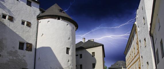 Thunderstorm over a Austrian Village
