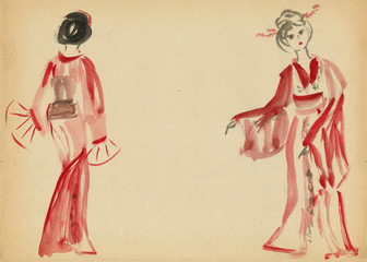 Two women dancing in a kimono