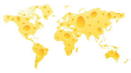 world map made of cheese
