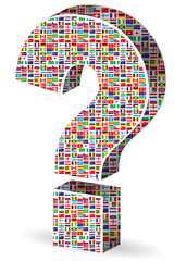 question mark with world flags pattern