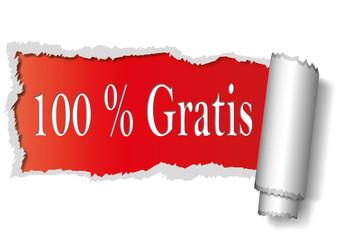 100% Gratis - aufgerissenes Papier - rot