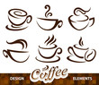 Vector set of coffee design elements