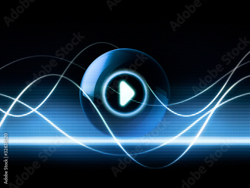 music sound concept audio waves play button