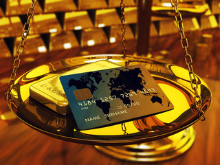 Credit card ,gold ingots and brass scale , 3d illustration