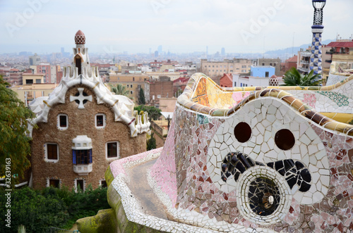 Detail of Park Guell in Barcelona, Spain